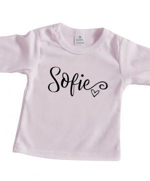 Baby shirt met naam lichtroze