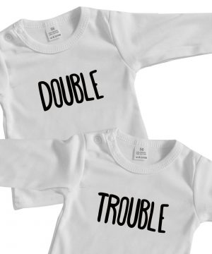 tweeling baby shirt double trouble wit