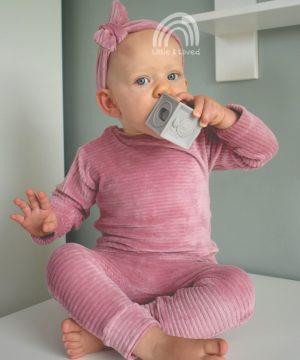 roze rib baby kledingsetje