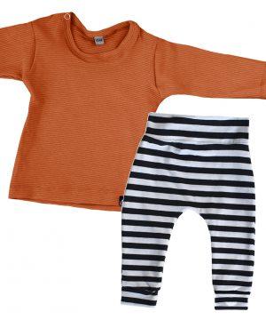 unisex baby outfit met cognac shirt