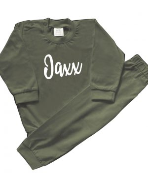babypyjama met naam groen