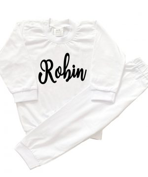 baby pyjama met naam wit