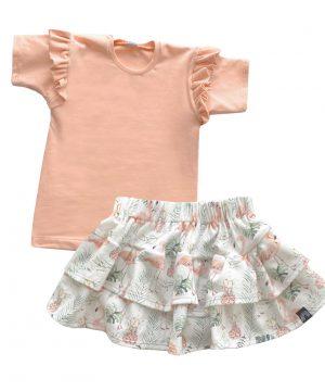 Baby rokje outfit flamingo